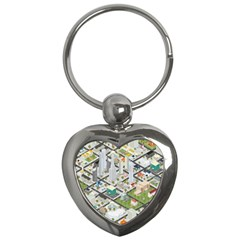Simple Map Of The City Key Chains (heart)