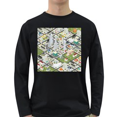 Simple Map Of The City Long Sleeve Dark T Shirts