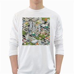Simple Map Of The City White Long Sleeve T Shirts