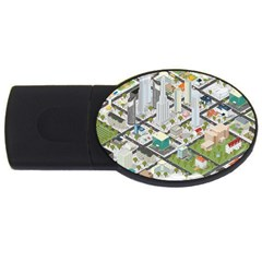 Simple Map Of The City Usb Flash Drive Oval (4 Gb)