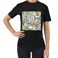 Simple Map Of The City Women s T Shirt (black)