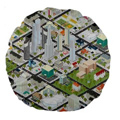 Simple Map Of The City Large 18  Premium Round Cushions