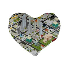 Simple Map Of The City Standard 16  Premium Heart Shape Cushions