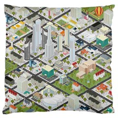 Simple Map Of The City Large Flano Cushion Case (two Sides)