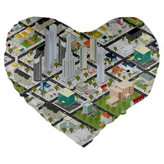 Simple Map Of The City Large 19  Premium Flano Heart Shape Cushions