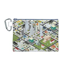 Simple Map Of The City Canvas Cosmetic Bag (m)