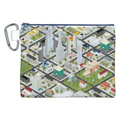 Simple Map Of The City Canvas Cosmetic Bag (xxl)