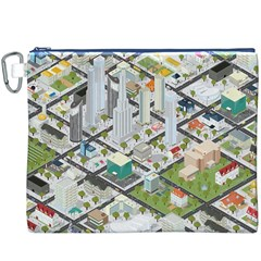 Simple Map Of The City Canvas Cosmetic Bag (xxxl)