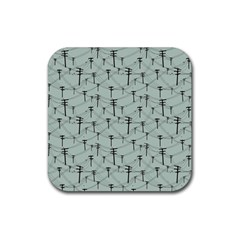 Telephone Lines Repeating Pattern Rubber Square Coaster (4 Pack)