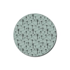 Telephone Lines Repeating Pattern Rubber Coaster (round)