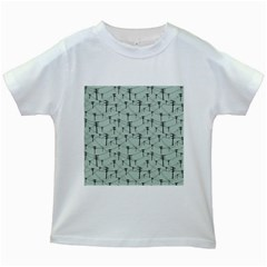 Telephone Lines Repeating Pattern Kids White T Shirts