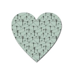 Telephone Lines Repeating Pattern Heart Magnet