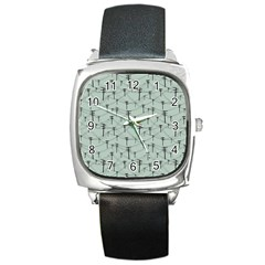 Telephone Lines Repeating Pattern Square Metal Watch