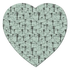 Telephone Lines Repeating Pattern Jigsaw Puzzle (heart)