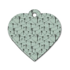 Telephone Lines Repeating Pattern Dog Tag Heart (one Side)