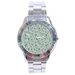 Telephone Lines Repeating Pattern Stainless Steel Analogue Watch