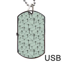 Telephone Lines Repeating Pattern Dog Tag Usb Flash (two Sides)