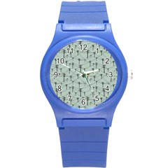 Telephone Lines Repeating Pattern Round Plastic Sport Watch (s)