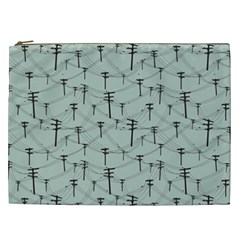 Telephone Lines Repeating Pattern Cosmetic Bag (xxl)