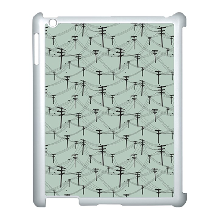 Telephone Lines Repeating Pattern Apple iPad 3/4 Case (White)