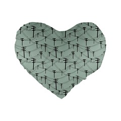 Telephone Lines Repeating Pattern Standard 16  Premium Heart Shape Cushions
