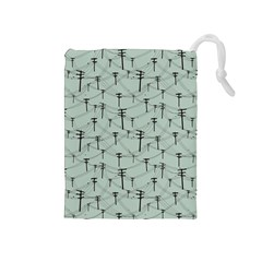 Telephone Lines Repeating Pattern Drawstring Pouches (medium)