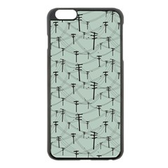 Telephone Lines Repeating Pattern Apple Iphone 6 Plus/6s Plus Black Enamel Case