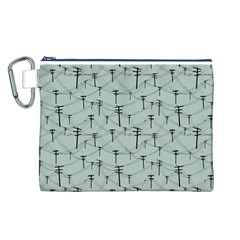 Telephone Lines Repeating Pattern Canvas Cosmetic Bag (l)