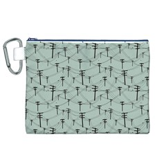 Telephone Lines Repeating Pattern Canvas Cosmetic Bag (xl)