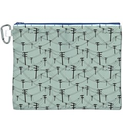 Telephone Lines Repeating Pattern Canvas Cosmetic Bag (xxxl)