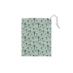 Telephone Lines Repeating Pattern Drawstring Pouches (xs)