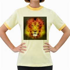 Fractal Lion Women s Fitted Ringer T Shirts