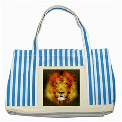 Fractal Lion Striped Blue Tote Bag
