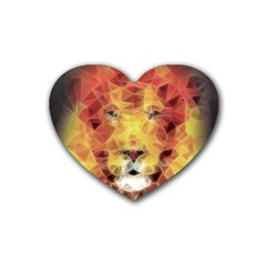 Fractal Lion Rubber Coaster (heart)
