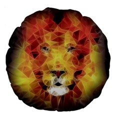 Fractal Lion Large 18  Premium Flano Round Cushions