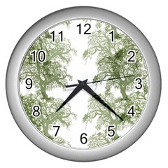 Trees Tile Horizonal Wall Clocks (silver)