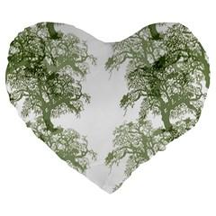 Trees Tile Horizonal Large 19  Premium Heart Shape Cushions
