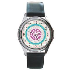 Mandala Design Arts Indian Round Metal Watch