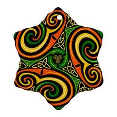 Celtic Celts Circle Color Colors Snowflake Ornament (two Sides)