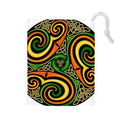 Celtic Celts Circle Color Colors Drawstring Pouches (large)