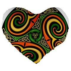 Celtic Celts Circle Color Colors Large 19  Premium Flano Heart Shape Cushions