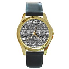 Ethno Seamless Pattern Round Gold Metal Watch