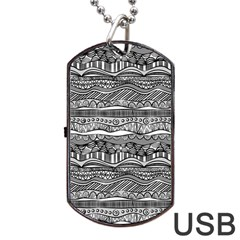 Ethno Seamless Pattern Dog Tag Usb Flash (two Sides)