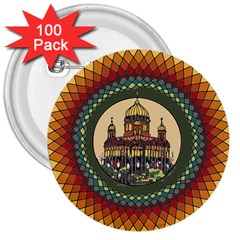 Building Mandala Palace 3  Buttons (100 Pack)