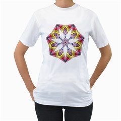 Colorful Chromatic Psychedelic Women s T Shirt (white) (two Sided)