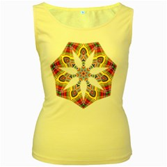 Colorful Chromatic Psychedelic Women s Yellow Tank Top