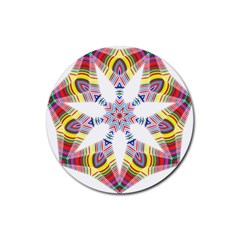 Colorful Chromatic Psychedelic Rubber Round Coaster (4 Pack)