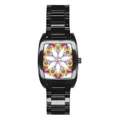 Colorful Chromatic Psychedelic Stainless Steel Barrel Watch