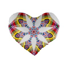 Colorful Chromatic Psychedelic Standard 16  Premium Flano Heart Shape Cushions
