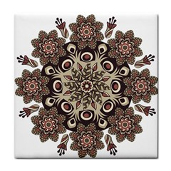 Mandala Pattern Round Brown Floral Tile Coasters